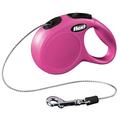 Рулетка Flexi New Cassic XS с тросовым поводком, розовая